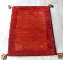 ギャッベ/玄関マットサイズ 厚手でふかふかな織り86x60cm レッド/レッド 動物モチーフ