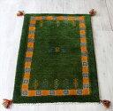 ギャッベ/玄関マットサイズ スタンダードな織り90x63cm グリーン&タイルボーダー 動物と植物モチーフ