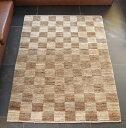 ギャッベ 手織り アクセントラグサイズ143x104cm ナチュラルブラウン&グレー チェック柄 市松模様