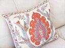 シルク手刺繍のクッションカバー/ウズベキスタンスザンニ/suzani/ 55×49cm華やかな花模様
