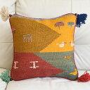 ギャッベ キリム クッションカバー 45cm角カシュカイ族の手織り 動物と鳥