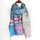 インドの古布・カンタ刺繍・シルクストール Kantha embroidery, India/刺し子・赤と青の刺繍/バラとダンサーとシカ