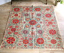 ウズベキスタンの刺繍布・スザンニ148×135cmアンティークリプロ/咲き誇る大輪の花【10P03Dec16】