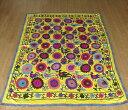 ウズベキスタン・スザンニ(suzani)180×144cmレモンイエロー/花をくわえた鳥たちのお散歩・色鮮やかなお花畑