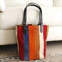 ショッピングパッチワーク オールドキリムと革のバッグ・マーケットトートカラフルペルデのパッチワーク/トルコ製