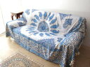 ガラムカールペルシャ printed cotton 280cm rectangle blue / paisley [setsuden_bedding]