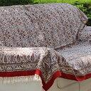ガラムカールペルシャ更紗240cm長方形 アンティークデザイン・手染め布イラン製ベッド