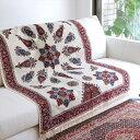 ガラムカールペルシャ更紗150cm長方形アンバー系ペイズリー 青い花の地模様
