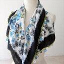 トルコの伝統手芸・レース編みのオヤスカーフかぎ針編みのトゥ・オヤ90×87cm花としずく模様