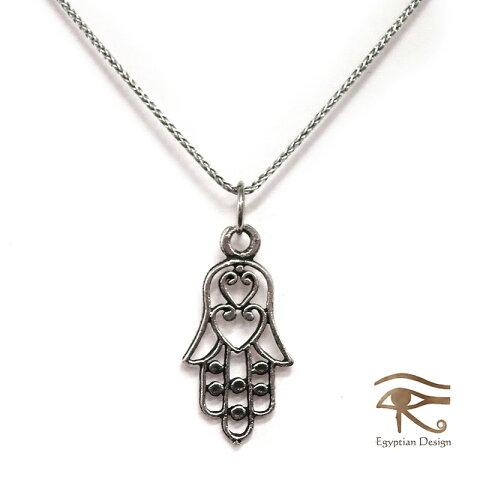シルバー925ペンダント【レターパック可】(チェーン付)・【エジプトお土産】 Egyptian Silver Jewelry Pendantファティマの手 Hand of Fatima Hamsa