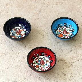 トルコ製ボウル3個セット・手書きセルチュク陶器8cm・ナル&パープル&ターコイズ
