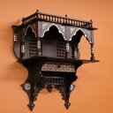 MotherofPearlエジプト螺鈿の工芸木製家具 壁掛け飾り棚シェルフ マシャラビアW54×H56×D22cm