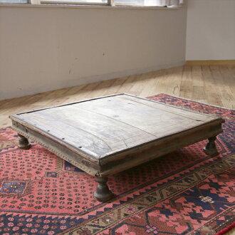 古色古香的木茶几傢俱來自印度的古董,木制咖啡桌 / 印度 W67.5 × H7.5 × 67.5 釐米