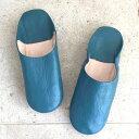 ショッピングモロッコ Morocco Babouche シンプルバブーシュ・ターコイズブルー/27cmMoroccan Slippers/バブーシュ・レザー・スリッパ/革のスリッパ/羊革/モロッコ製