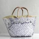 ショッピングモロッコ Morocco Marche Bag モロッコのかご・マルシェバッグ/ダーク・グレー&シルバー・花の刺繍/Lサイズ・巾着内布付き幅40cmx本体の高さ23cmxマチ16cm・重さ570g/モロッコ製