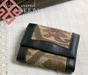 オールドキリム and leather three fold wallet ksf063Old Kilim & Lether Walet