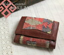オールドキリム and leather three fold wallet ksf092Old Kilim & Lether Walet