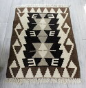 手織りカイセリキリム・ヤストゥクサイズ・88×60cmナチュラルモノトーン 2つのベレケットのモチーフ