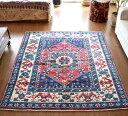 トルコ絨毯・アナトリアのオールドカーペット・エリアラグ/セッジャーデ197×170cm赤のメダリオン・ブルー&グリーン