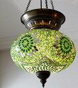 大型照明パレスランプ・ガラスペンダントランプ1灯/トルコ製モザイクランプグリーンフラワー/E17・25Wクリプトン球