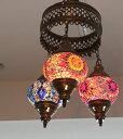 トルコランプ/モザイクガラスランプシャンデリア3灯並列・ブルー&レッド・ブルー・レッドフラワー/E14・10W×3灯