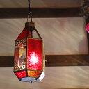 モロッコランプ・ランタン レッド&クリア6面のエキゾチックなランタン/キャンドルホルダーや窓際のオブジェに<灯具別売り>