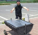 大型 bbq コンロ BBQ 屋外 アウトドア イベント 用 移動式 キャスター ねこ車にもなる バザー 焼肉 08モデル改 【ドラム缶式移動型バーベキューコンロ(金網付)】