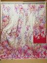 ショッピング花 振袖 花々とリボンとお星さま 白から紅色へのグラデーション【振袖】【花】【リボン】【星】【お仕立て込】【送料無料】【smtb-k】【ky】