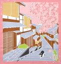 シャンタンチーフ ねこ柄小風呂敷 《たまのお散歩》 春 桜 【はんかち】【日本製】【ランチクロス】【50cm】