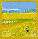 シャンタンチーフ ねこ柄小風呂敷 《たまのお散歩》菜の花 【はんかち】【日本製】