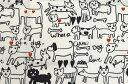 Plune.−プルーン− 小風呂敷 モノトーンドッグ 白×黒 【ハンカチ】【ランチクロス】【いぬ】【犬柄グッズ】【テキスタイル】【50cm】