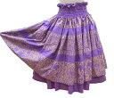 【在庫一掃売り尽くし 送料無料】フラダンス パウ スカート 二重スカート・紫色系 ホヌ柄(亀柄) ハワイアンスカート