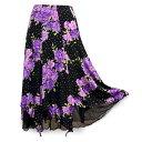 ショッピングカラオケ 【送料無料】裾チュール ストレッチ バラの花柄スカート 裏地付き 黒地に紫色系の柄 フリーサイズ 裾ネット地 ラメ パープル