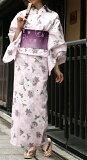 【女物浴衣】ピンク色地に鹿の子と菊柄変わり織お仕立て上がりゆかた フリーサイズ