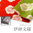 【伊砂文様】104cm 三巾風呂敷 両面ふろしき 綿風呂敷 梅 赤×グリーン
