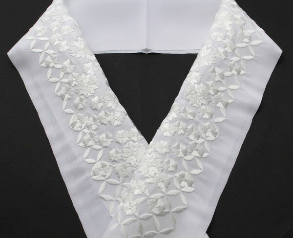 半襟 桜 刺繍半襟 留袖用 振袖用 白地×白糸...の紹介画像2