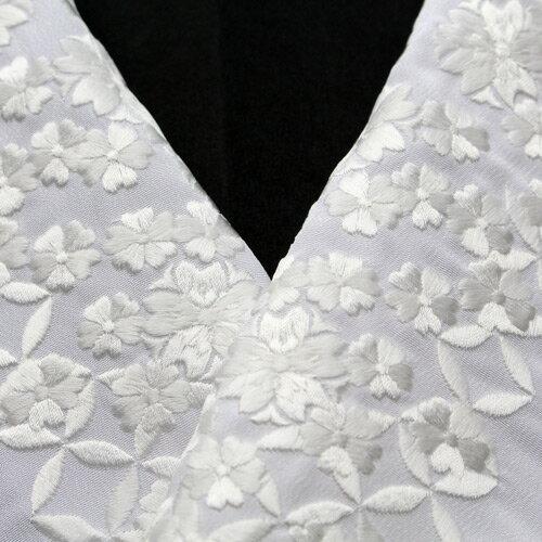 半襟 桜 刺繍半襟 留袖用 振袖用 白地×白糸「...の商品画像