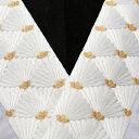 刺繍半襟 白×金 振袖用 留袖用 成人式 卒業式 結婚式 若松菱文 半衿 訪問着用 婚礼衣装用 礼装用「衿秀」刺繍半衿 洗える ポリエステル ししゅう半衿