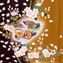 訪問着 レンタル セット 【H056】 チャコールグレー&カーキ 鴛鴦と桜☆フルセット レンタル 訪問着 着物レンタル お宮参り 貸衣装 お..