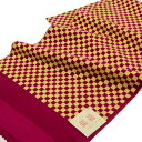 正絹振袖用帯揚げ金彩加工市松柄 赤紫×金 メール便可 あす楽
