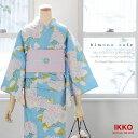IKKO女性浴衣2点セット!国内染めのキレイな仕上がり!紫陽花柄 水色 とピンクの麻帯【メール便不可】【あす楽】