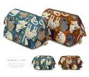帆布 ワイヤーポーチ 猫 柄画ワークス×un deux 全2種 ブルー ブラウン