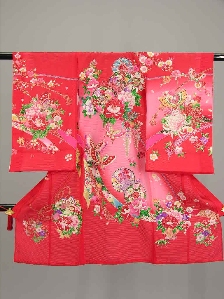 Festoon Flower Butterfly Kodo red pink orange girl 祝着 hung kimono baby baby kids baby clothes from shrine ohatsu ringtone rental woman girl summer W108