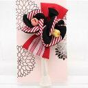 髪飾り 成人式 花 浴衣 リボン 縞柄 つまみ細工 卒業式 着物 振袖 袴 結婚式 和装 フラワー ヘッドドレス 赤 黒