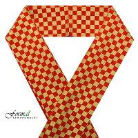 振袖用半襟「赤×ゴールド 市松」正絹半襟