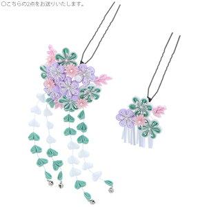 つまみ細工かんざし2本セット「青緑×藤×白 梅」