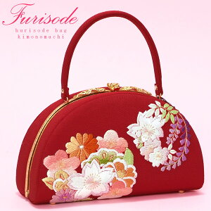 ちりめん生地の大きな和装バッグ「赤 刺繍の花模様」パールトーン加工済み