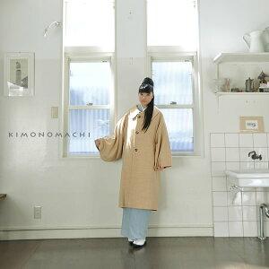 ロングコート「イエローベージュ×白色 格子」和洋兼用 和装コート ウールコート 京都きもの町オリジナル