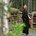長羽織 よろけ墨柄「黒×ベージュ」(6072)<R>【メール便不可】 お洒落羽織 女性用羽織 ロング丈羽織
