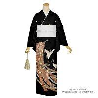 女性の第一礼装 黒留袖 結婚式 お仕立て上がり黒留袖単品「鬘帯に鶴、花車」紋入れ代込み 礼装 着物